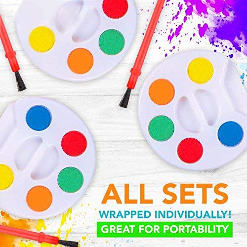 HOWBOUTDIS Party Supplies - Mini Watercolor Paint Sets with Brush -24 Sets -