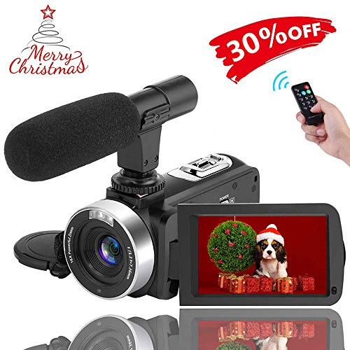 Full HD Camcorder WiFi Video Camera 1080P Digital Camera IR Night Vision Function Vlogging Camera with External Microphone