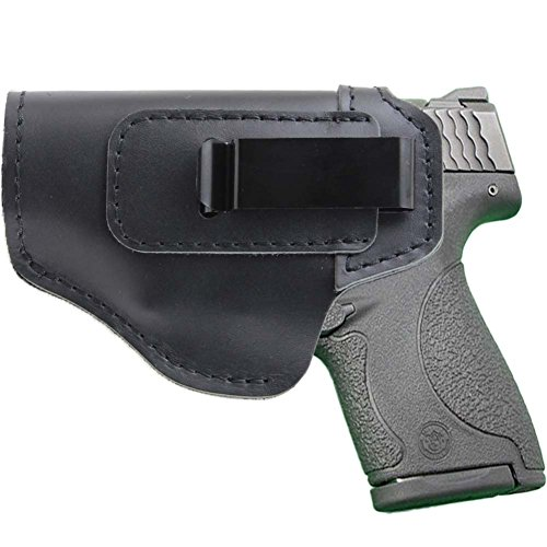 IWB Left Hand Holster Leather Concealed with Clip for S&W M&P Shield 9mm Glock 17 18 19 22 23 32 33 or All Similar Sized Handguns (Left - Gen 4 Elite 4