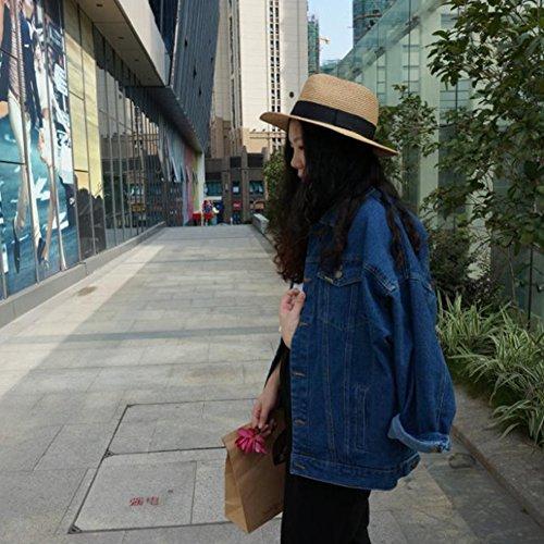 Denim Long Blue Jean Coat Button Boyfriend Jacket Casual VERYCO Up Loose Women Sleeve Top ESwFqEBx