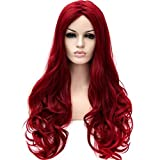 XUAN Fashion Wine Red Long Curly Hair Matte Lifelike Long Wigs In The Sub-personalized Wig Sets
