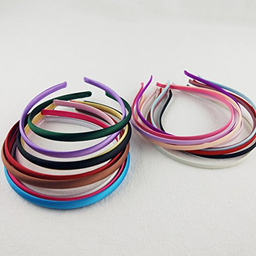 Hixixi 20pcs pack Girls / Women Diy Satin Fabric Covered Ribbon Headbands Hairband