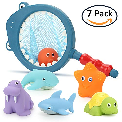 Toyk Colorful Bath Toy (7Pcs) Floating Squirts Water Swimming Pool Toys Toddler Baby Kids Boys Girls Fun, Blue