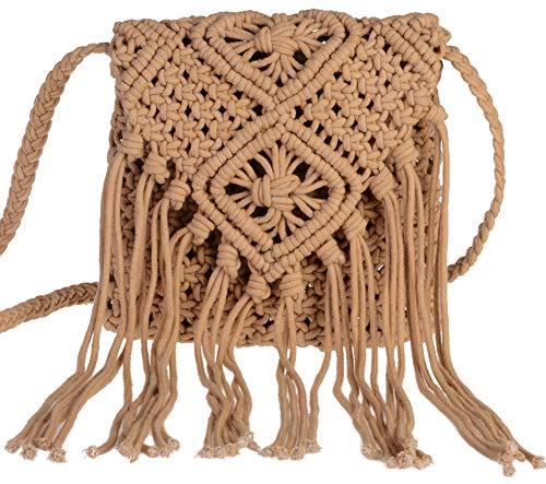 I-MART Women Crochet Fringed Messenger Bags Tassels Cross Beach Bohemian Tassel Shoulder Bag (Khaki) ()