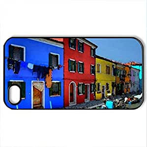 Burano-Italy - Case Cover for iPhone 4 and 4s (Houses Series, Watercolor style, Black)