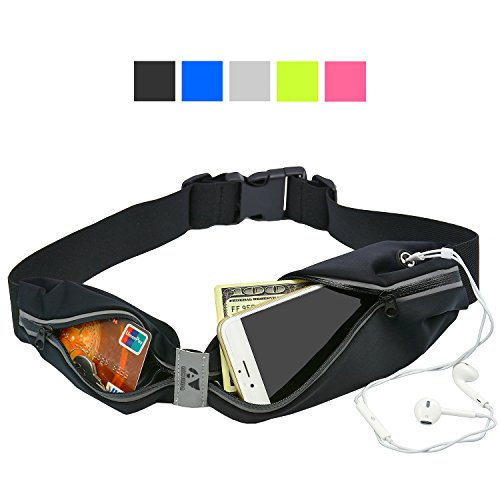 Price comparison product image AIKELIDA Running Belt, Fanny Pack, Reflective Waterproof Waist Pack for Men & Women During Running Hiking Cycling Climbing Camping Travel Compatible Fits iPhone 6/6s plus & Most Smartphones - Black