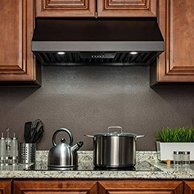 """Perfetto Kitchen and Bath 30"""" Under Cabinet Black Stainless Steel Push Panel Kitchen Range Hood Cooking Fan"""