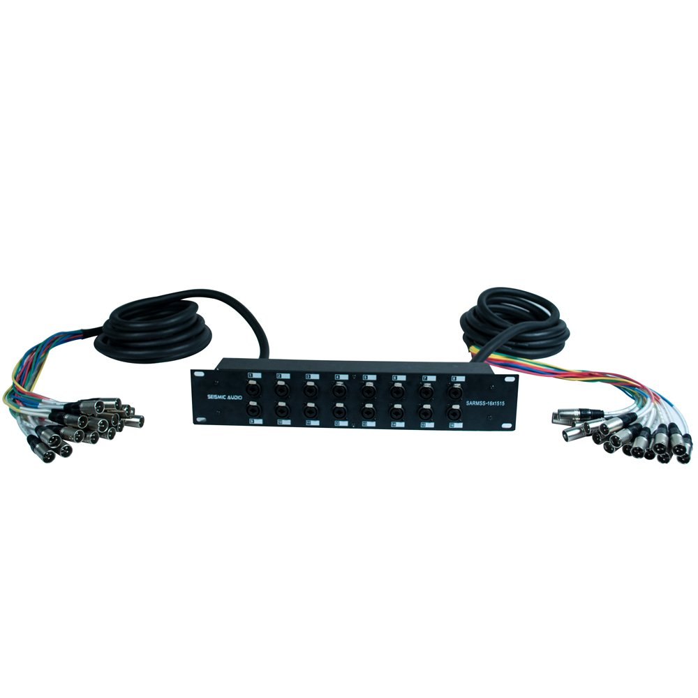Seismic Audio - SARMSS-16x1515 - 16 Channel XLR TRS Combo Splitter Snake Cable Two 15' XLR trunks - Rack Mountable