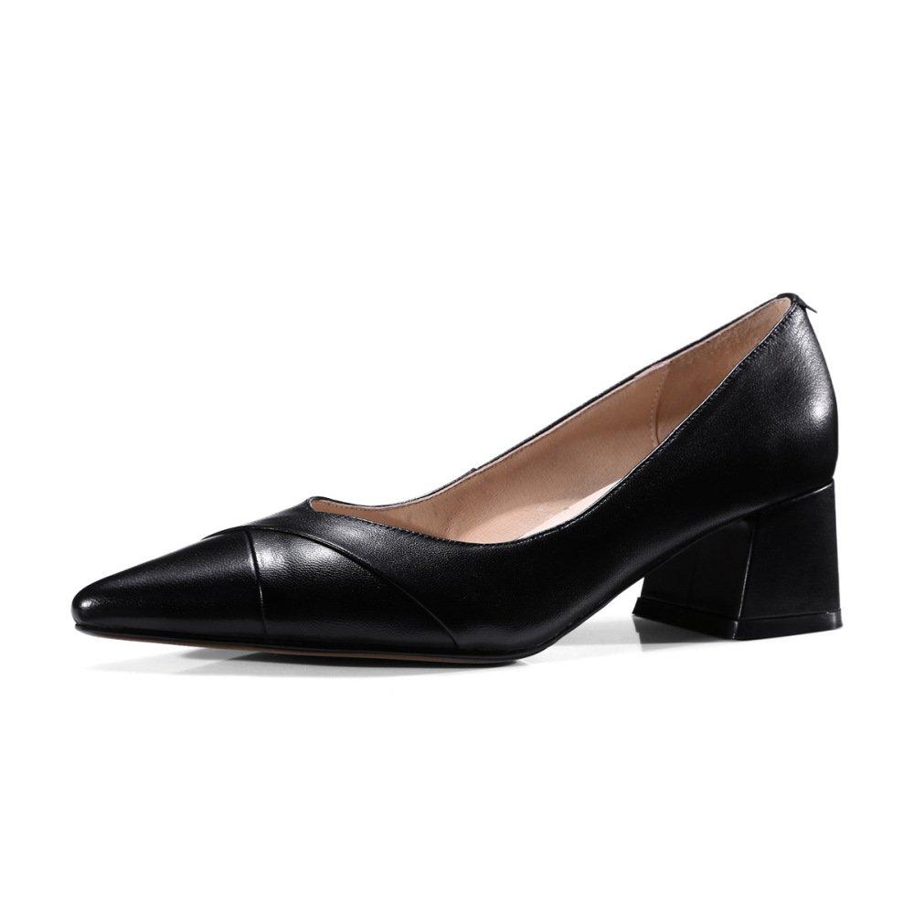 Ximu Neue Damen Lederschuhe Einfache Bequeme Spitze Schuhe Sommer Sandalen Pump Weiszlig; Schwarz 5cm  34 EU|Black