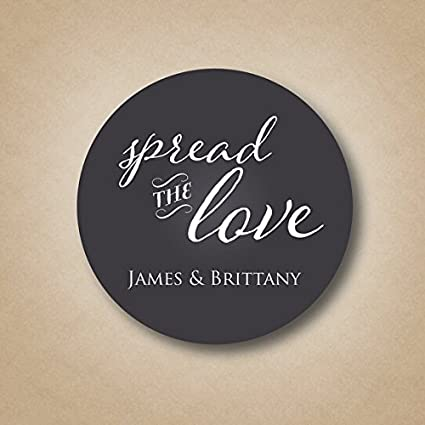 Spread The Love Favor Stickers Jam Jar Wedding Favors Jelly Labels Chalkboard Mason