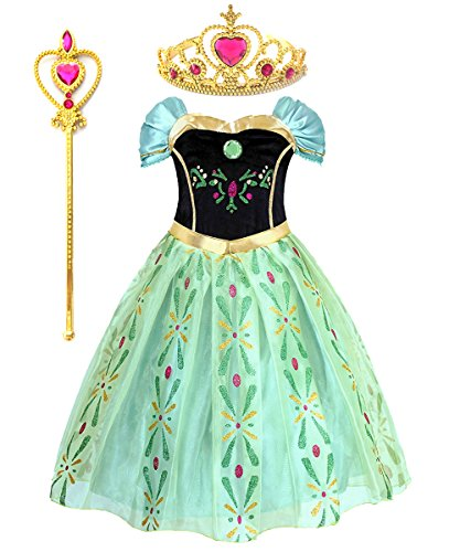 Kuzhi Princess Elsa Anna Party Costume Dress with Crown and Wand (L) -