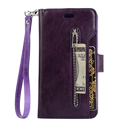 TechCode Samsung S8 Plus Phone Wallet Pouch, Premium PU Leather Flip Stand Smart Wallet Cover w/Card Slots & ID Holder Phone Protective Cover Pocket Clutch for Samsung Galaxy S8 Plus 6.2''(Purple)
