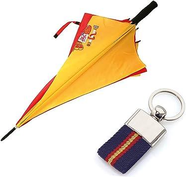 Paraguas de la Bandera Española + Llavero ESP-ANTIVENTISCA-126 CM- con Escudo ESPAÑA-Tela Impermeable -Colores Vistosos- Escudo de España- Paraguas de Golf: Amazon.es: Equipaje