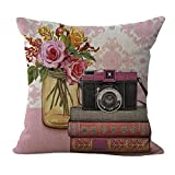 ChezMax Linen Blend Camera Pattern Cushion Cotton Square Decorative Throw Pillow 18 X 18''