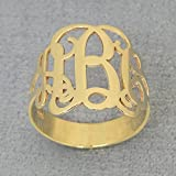 3 Initial Monogram Ring Solid 10k Yellow Gold Personalized Monogrammed Jewelry