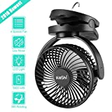 9. Camping Tent Fan with LED Lantern - 4 Speeds 5000 mAh Battery Operated Personal Desk Fan - Ultra Silent Clip on Fan for Stroller - Portable USB Rechargeable Fan for Camping, Hiking, Home and Office