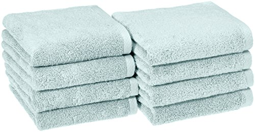 AmazonBasics Quick-Dry Hand Towels - 100% Cotton, 8-Pack, Ice Blue