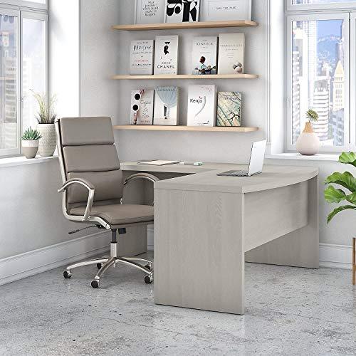Bush Industries Office by Kathy Ireland Echo L Shaped Bow Front Desk Grey