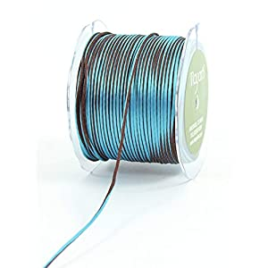 May Arts Ribbon, Brown and Blue Satin String