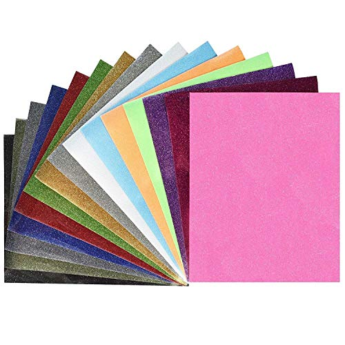 Fame Crafts Glitter Heat Transfer Vinyl (HTV), 12 x 10 15-Color Starter Bundle