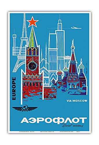 - Europe via Moscow - Aeroflot (Soviet Airlines) - National Airline of Russia - Vintage Airline Travel Poster c.1968 - Master Art Print - 13in x 19in