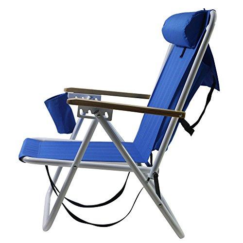 Candora Portable High Strength Beach Chair with Adjustable Headrest Blue