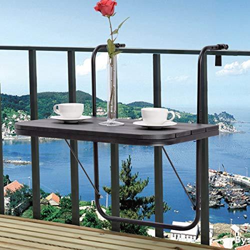 Tangkula Balcony Folding Deck Table Patio Outdoor Garden Adjustable Hanging Railing Serving Tabl ...
