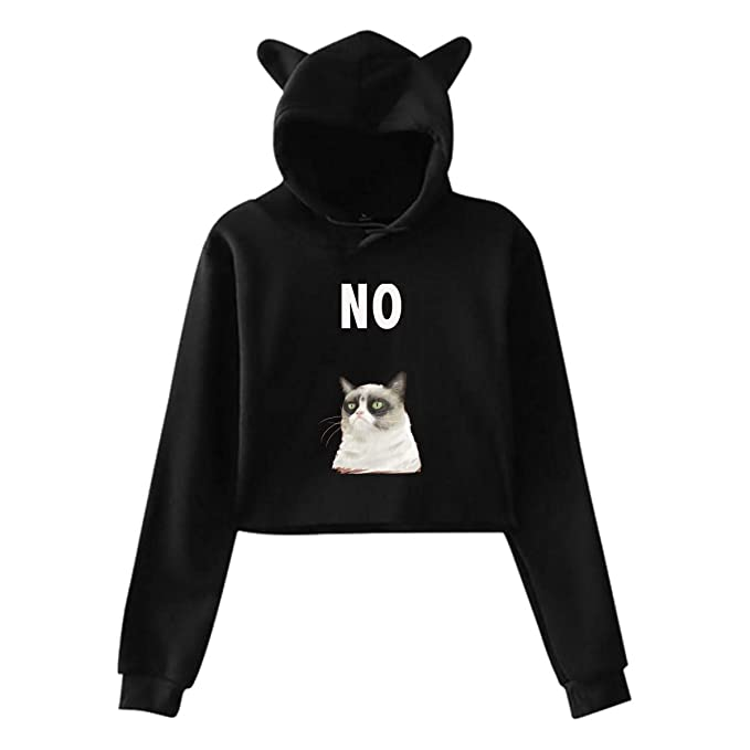 Amazon.com  Grumpy Cat No Womens Teen Girls Casual Cropped Cat Ear Hoodie  Sweatshirt Pullover  Clothing e1f56eab7d