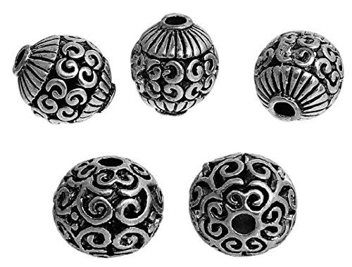 (Round Spacer Beads, 20 Pack (2 Different), 10-12mm Silver Tone, Filigree Antique Look, 2.4mm Hole)