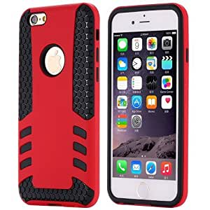 Newest Cool Rocket Armor Case For Iphone 6 4.7 Luxury Soft Hard Phone Shell Dual Layer Grain Pattern Slim Back Cover For Iphone6 Red-Red