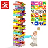 TOP BRIGHT Wooden Stacking Board Games Building Blocks for Kids Ages 3-7 Educational Deluxe Animal Cute Toddles Stacking Toys - 51 Pieces Color Blocks