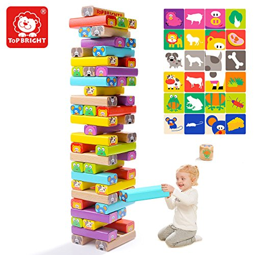 TOP BRIGHT Wooden Stacking Board Games Building Blocks Kids Ages 3-7 Educational Deluxe Animal Cute Toddles Stacking Toys - 51 Pieces Color Blocks by TOP BRIGHT