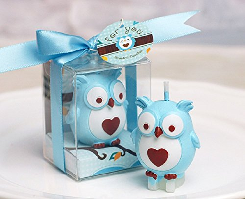 RedC Creative Blue Owl Cartoon Birthday Candle, Smokeless Cake Candle and Party Supplies, Hand-Made Cake Topper Decoration, Great Gift -