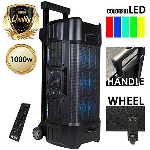 EMB EBZ120 PK1 1000W Power LED Party Bluetooth/USB/SD Stereo Rechargeable Portable Speaker - Perfect for Beach/Home/Birthday/DJ Party/Camp/Jobsite/Construction/Industrial ()