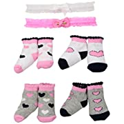 Little Me Baby Girls' 4pk Booties, Pink, 0-12 M