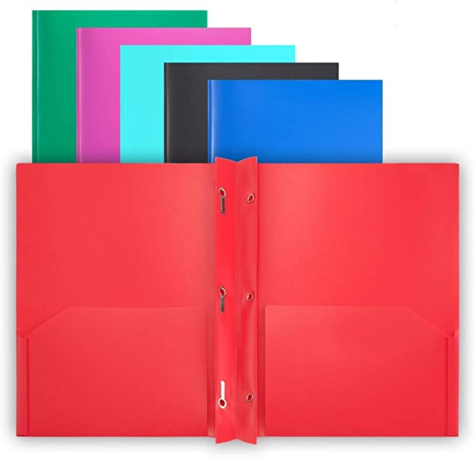A2140PK 12 Pack COMIX 2 Pocket Letter Size Poly File Portfolio Folder with 3-Hole Punch Pink Violet Purple