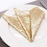 RXIN 10pcs 12X12 Table Napkins mat Sequin Satin High-Grade Fabric Napkin for Wedding Birthday Xmas Party Hotel Decoration Champagne