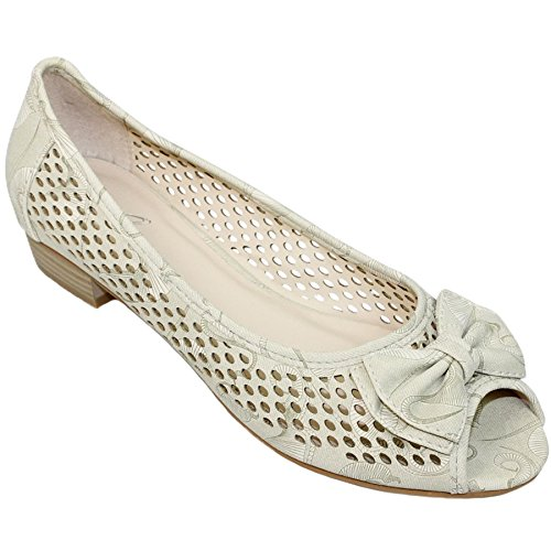 Fantasia Boutique FLC105 Ladies Coast Bow Pump Padded Insole Low Heel Sandals Peep Toe Shoes Beige 8XSPH0hZM