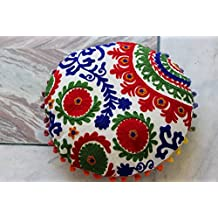 Handicraftofpinkcity 16'' Vintage Suzani Ottoman Embellished With Embroidery Foot Stool Floor Cushion Cover, Living Room Ottoman Cover Indian Handmade Pouffe Cover