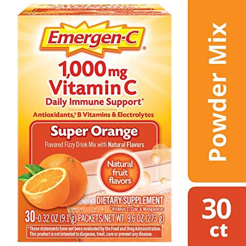 Emergen-C (30 Count, Super Orange Flavor, 1 Month Supply) Dietary Supplement Fizzy Drink Mix with 1000mg Vitamin C, 0.32 Ounce Powder Packets, Caffeine Free (Super C Energy Drink Mix)