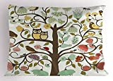 Egg Shell Mattress Topper kOougjidji Animals Pillow Sham, Retro Style Tree with Flowers Bugs and Bees Owl Birds Insects Vintage, Decorative Standard Size Printed Pillowcase, 20 X 30 Inches, Almond Green Eggshell