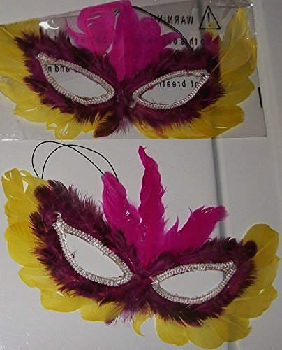 Mardi Gras Feather Mask ~ Green, Black, Yellow, Maroon, & Purple -