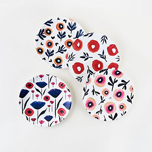 Poppy Plates - Set of Four 9'' Melamine Plates by One Hundred and Eighty Degrees