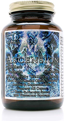 5D Ascension 55 Herb Blend 20X Strength Whole Body Wellness Formula (180 Veg Capsules) - Mood Boost, Mental Clarity, Anxiety and Depression Relief, Immune Boost, Weight Loss, and Fasting Support