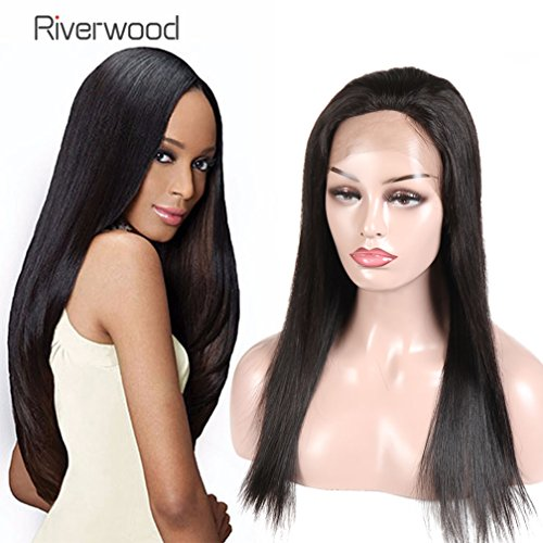 Malaysian Virgin Human Hair Lace Front Wigs 180% Density for Black Women Long Straight Pre Plucked Glueless Human Hair Wigs With Baby Hair Bleached knots Natural Black color 18inch by Riverwood
