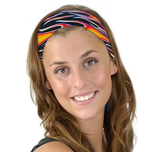 Flames Bikers Hot Wheels on Fire Soft Fabric Headband Orange Black Womens OS -