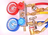 AC HVAC/R Air Conditioning Field Service Tool Kit:Set of Manifold Gauge w/5ft Hose Set R22 R134a R404 R407 1/4 Flare Fittings Come w/Car AC Port Quick Snap on Couplers+R134a Can Tap Tapper Brand New