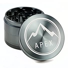Herb Grinder Apex Premium 4 Piece With Pollen Catcher 2.5 Inch 4 piece grinder Top Rated Herb Grinder Includes Carrying Case and Pollen Scraper 3 Save Money by Conserving Your Herbs - Using the newest in CNC technology, our blades are the sharpest and most effective of any grinder ever made giving you a slower burning, longer lasting herbal experience. Pump Up the Potency - Our strong steel screens are perfect for collecting the finest pollen, and increasing the potency of your herbs. We even include a pollen scraper to maximize pollen collection. World's Smoothest Grinding Experience - The magnetic top and friction reducing ring to allow for the smoothest grinding experience possible.