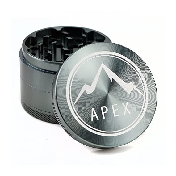 Herb Grinder Apex Premium 4 Piece With Pollen Catcher 2.5 Inch 4 piece grinder Top Rated Herb Grinder Includes carrying case and pollen scraper (Champagne Platinum) 1 <p>GET THE MOST OUT OF YOUR HERBS, WITH THE UNIQUE ATTENTION GRABBING STYLE OF AN APEX PREMIUM-QUALITY HERB GRINDER TODAY FREE Shipping - Lifetime Warranty - Order Now Save Money by Conserving Your Herbs - Using the newest in CNC technology, our blades are the sharpest and most effective of any grinder ever made giving you a slower burning, longer lasting herbal experience. Pump Up the Potency - Our strong steel screens are perfect for collecting the finest pollen, and increasing the potency of your herbs. We even include a pollen scraper to maximize pollen collection. World's Smoothest Grinding Experience - The magnetic top and friction reducing ring to allow for the smoothest grinding experience possible. Built to Last a Lifetime - Apex grinders are made from the highest quality aircraft grade aluminum making them tougher, and more durable than other grinders. Lifetime Warranty and FREE Shipping - If for any reason you're unsatisfied with your Apex Premium-Quality Herb Grinder, you can send it back for a full refund. No questions asked.</p>