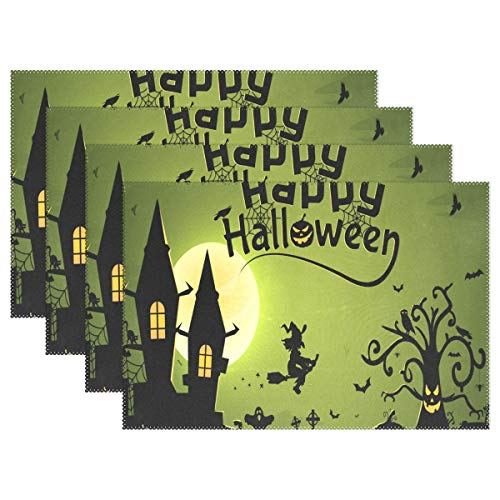 (NMCEO Place Mats Halloween Witch Wallpaper Personalized Table Mats for Kitchen Dinner Table Washable PVC Non-Slip Insulation Set of)
